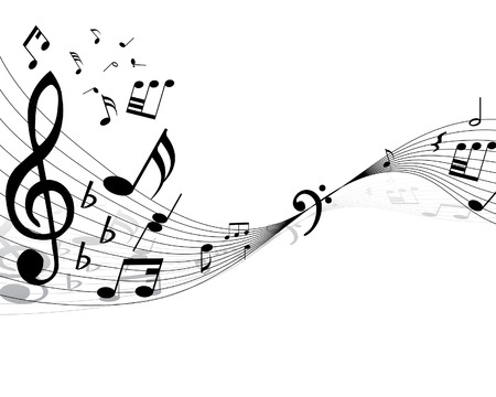quarter note: Musical note stuff  vector backgrounds with notes and lines Illustration
