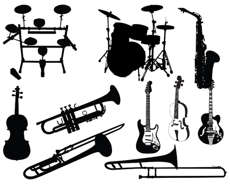 Set of different stringed, wind and percussion instruments  Vector