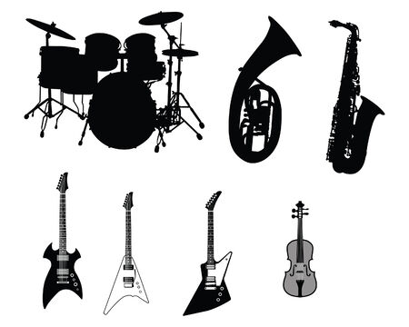 drum and bass: Set of different stringed, wind and percussion instruments  Illustration