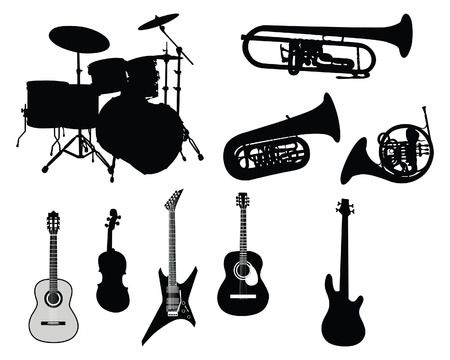 Set of different stringed, wind and percussion instruments  Illustration
