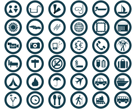 Biggest collection of different travel icons for using in web design Vector