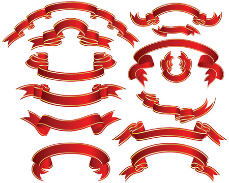 Set of brightly red ribbons with golden lines