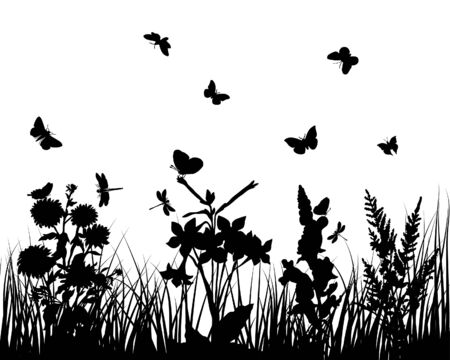 Vector grass silhouettes backgrounds with butterflies Stock Vector - 4183505
