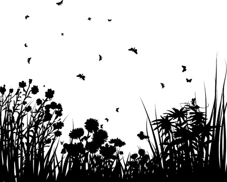 Vector grass silhouettes backgrounds with butterflies Stock Vector - 4183510
