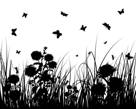 Vector grass silhouettes backgrounds with butterflies Stock Vector - 4183507