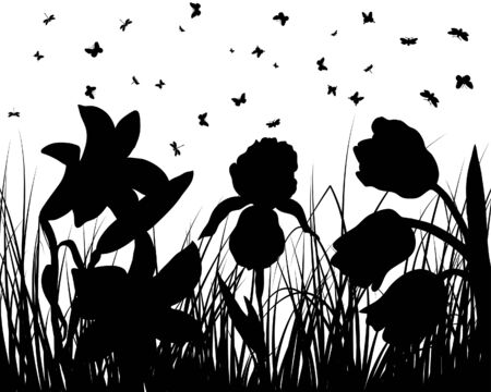 Vector grass silhouettes backgrounds with butterflies Stock Vector - 4183504