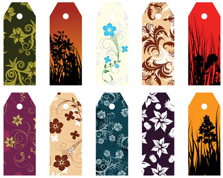 blank gift tag: Set of ten different vector floral  bookmarks