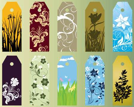 procent: Set of ten different vector floral  bookmarks