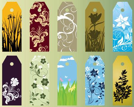 representatives: Set of ten different vector floral  bookmarks