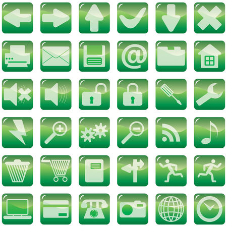 Collection of green internet icons with glares Vector