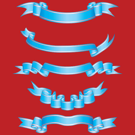 Set of different vector ribbons on red background Stock Vector - 4198424