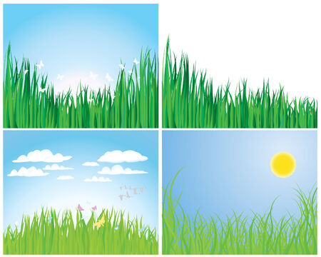 Set of four vector grass silhouettes backgrounds  Stock Vector - 4198439