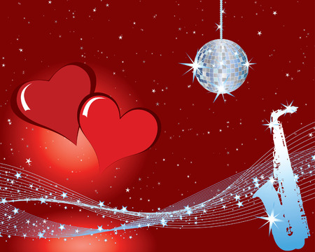 half ball: St. Valentine days musical background with hearts