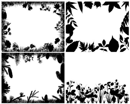 landscaped garden: Set of four vector grass silhouettes backgrounds  Illustration