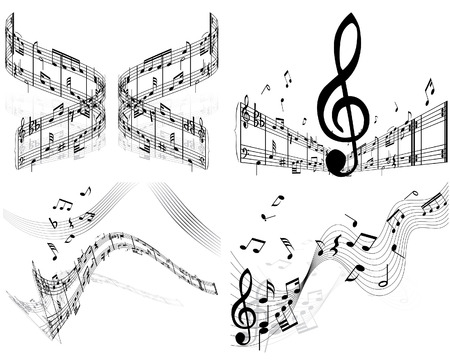 Set of four vector musical notes staff Stock Vector - 4206316