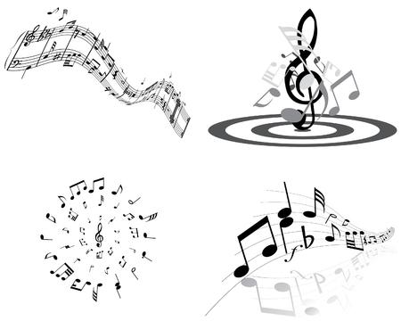 Ensemble de quatre vecteurs des notes de musique personnel