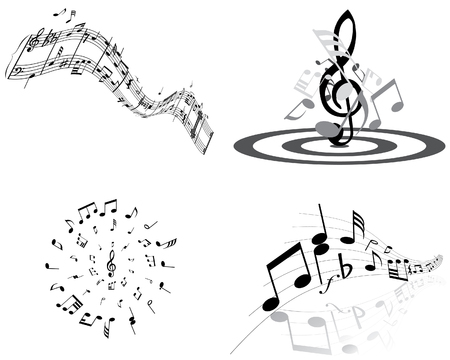 sheet music: Set of four vector musical notes staff