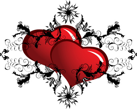 St. Valentine Day floral frame with hearts Stock Vector - 4206313