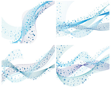 Set of four abstract vector water background Vector