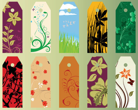 Set of ten different vector floral  bookmarks  Stock Vector - 4272942