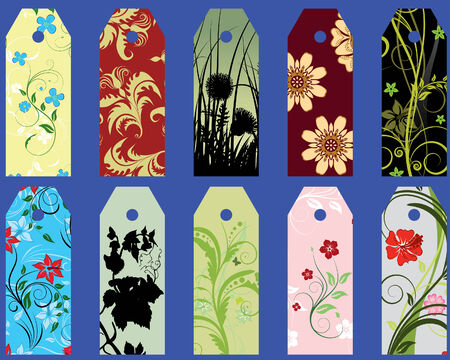 vector message: Set of ten different vector floral  bookmarks