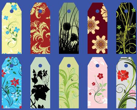 Set of ten different vector floral  bookmarks Stock Vector - 4272947