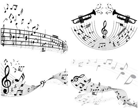 spartiti: Set di quattro vettori note musicali del personale