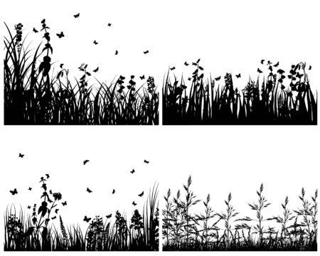 Set of four vector grass silhouettes backgrounds  Stock Vector - 4272939
