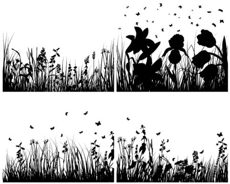 Set of four vector grass silhouettes backgrounds Stock Vector - 4272933