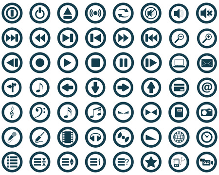 Big collection of different icons for using in web design Stock Vector - 4272900