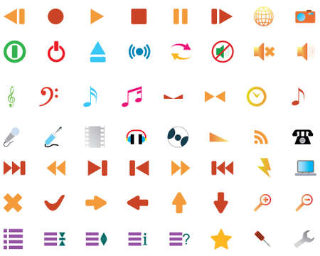 Big collection of different icons for using in web design Stock Vector - 4272887