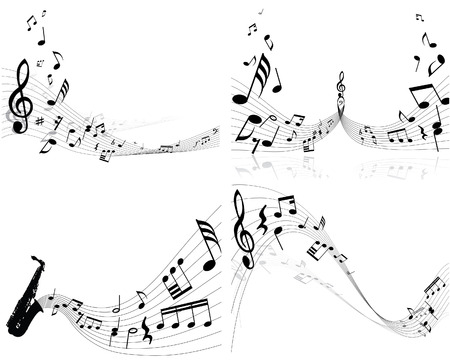 Set of four vector musical notes staff Stock Vector - 4272906