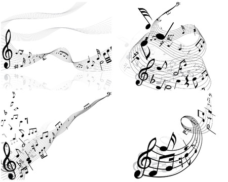 Set of four vector musical notes staff Vector