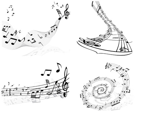 wind instrument: Set of four vector musical notes staff