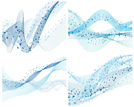 Set of four abstract vector water background Stock Vector - 4272944