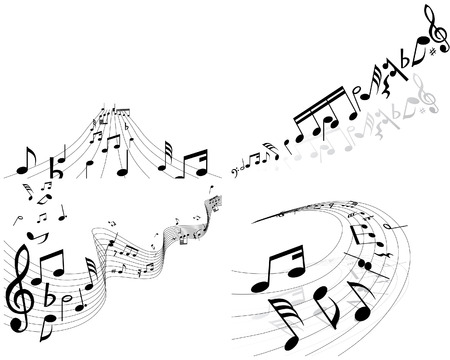 Set of four vector musical notes staff Stock Vector - 4272883