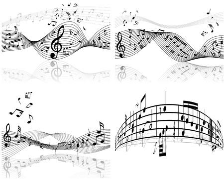 viertelnote: Set von vier Vektor Noten Personal Illustration