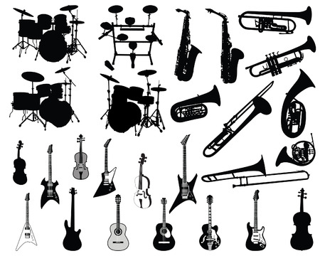 brass instrument: Set of different stringed, wind and percussion instruments  Illustration