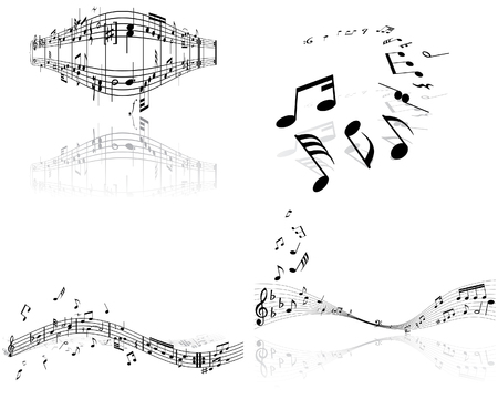 quavers: Set of four vector musical notes staff
