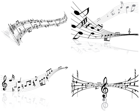 Set of four vector musical notes staff Stock Vector - 4272925