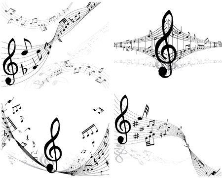 musical instrument parts: Set of four vector musical notes staff