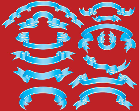 Set of different vector ribbons on red background Stock Vector - 4272914