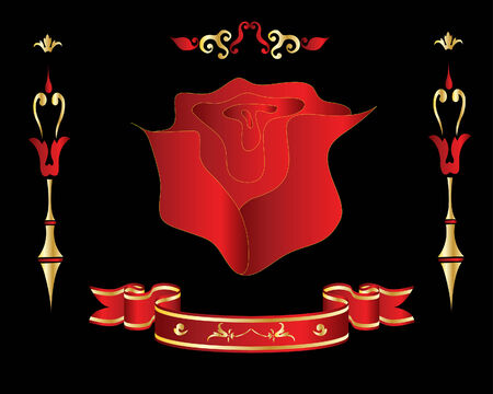 Brightly red rose flower on gothic black background Vector