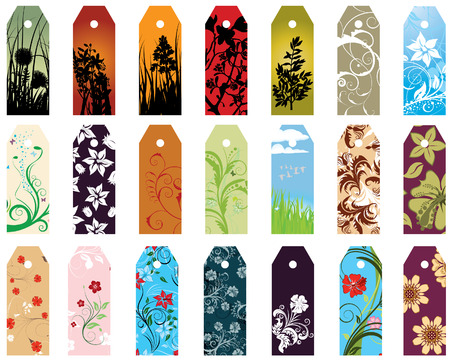 Set of  different vector floral  bookmarks for design use Vector