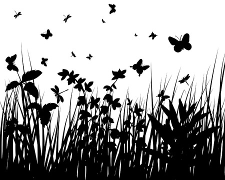 Vector grass silhouettes backgrounds with butterflies Vector
