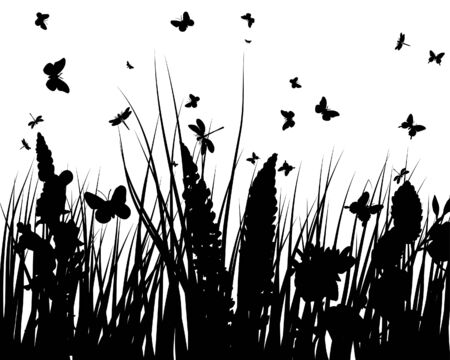 Vector grass silhouettes backgrounds with butterflies Stock Vector - 4272908