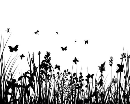 Vector grass silhouettes backgrounds with butterflies Stock Vector - 4272916