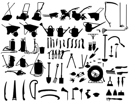craftsmen: biggest collection of vector garden instruments silhouettes