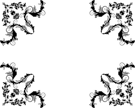 scrool: Abstract floral vector frame background in Victorian style