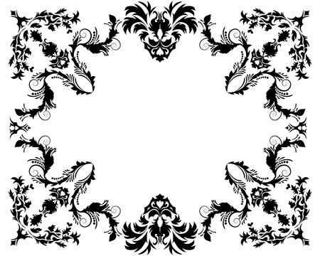 Abstract floral vector frame background in Victorian style